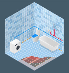 bathroom in isometry water supply vector image