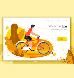 Bicycle riding man in park vector