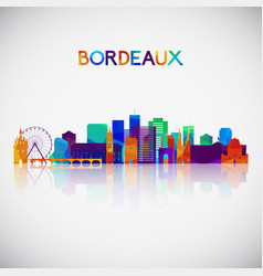 bordeaux skyline silhouette in colorful geometric vector image