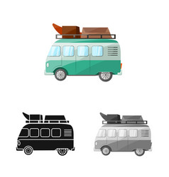Bus and recreation icon vector