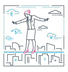 businesswoman walking on a wire- line design style vector image