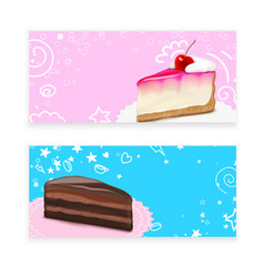 Cake piece realistic banners vector