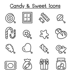 candy sweet icon set in thin line style vector image