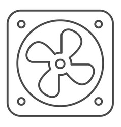 Car fan cooling thin line icon radiator fan vector