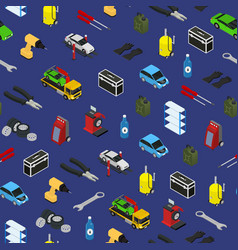 Car service seamless pattern background isometric vector