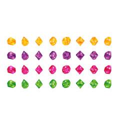 Cartoon multicolor gems gem yellow green blue vector