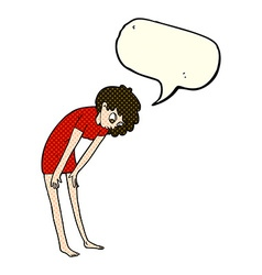 Cartoon woman looking at her feet with speech vector