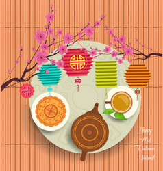 chinese moon cake and green tea for mid autumn vector image