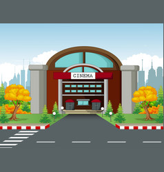 Cinema building with town background vector