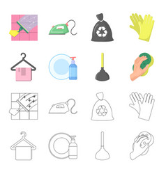 cleaning and maid cartoonoutline icons in set vector image