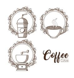 Coffee culture emblems vector