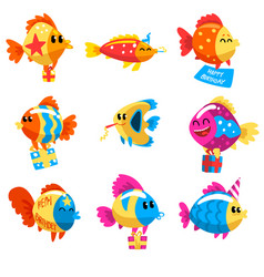 collection of funny fishes cute colorful sea vector image