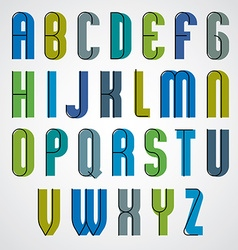 Colorful binary narrow cartoon font rounded upper vector