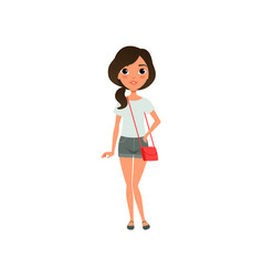 Cute girl dressed in stylish casual clothing blue vector