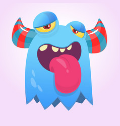 cute happy cartoon monster with horns vector image