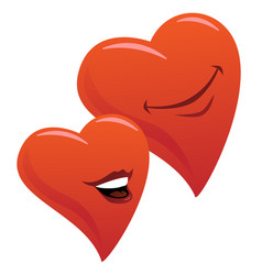 Cute smiling romantic hearts couple cartoon vector