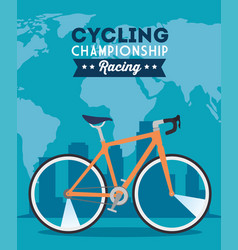 Cycling championship racing poster with bike vector