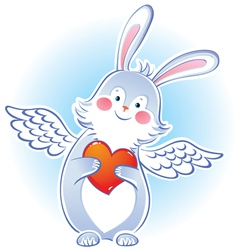 Darling rabbit with wings vector