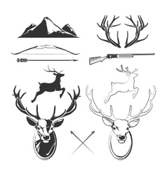 Deer head elements constructor for vintage vector