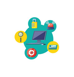 desktop computer with security icons vector image