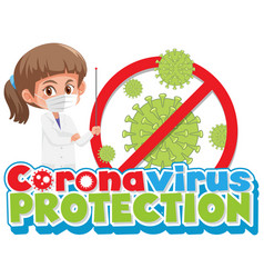 Doctor with corona virus sign vector