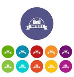 Emblem fortress icons set color vector