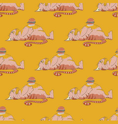 Fat cat with burger seamless pattern vector