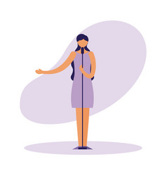 female singer standing with microphone vector image
