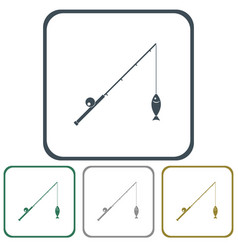 fishing rod icon vector image