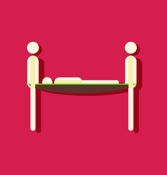 Flat icon design collection man on a stretcher in vector