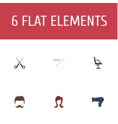 Flat icons blow-dryer blade shears and other vector