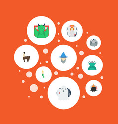 Flat icons evil wizard fish girl and other vector