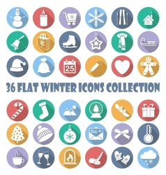 flat winter circle icon collection vector image
