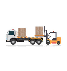 Forklift loading a truck vector
