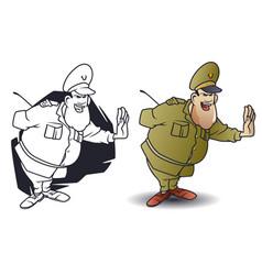 Funny little men general showing stop gesture vector
