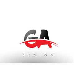 Ga g a brush logo letters with red and black vector