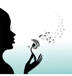 Girl blow dandelion vector