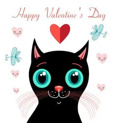 graphics funny love with a kitten vector image