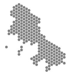 Gray hexagon skyros greek island map vector