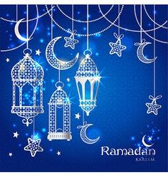 Greeting Card Ramadan Kareem design vector image