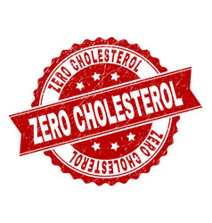 Grunge textured zero cholesterol stamp seal vector