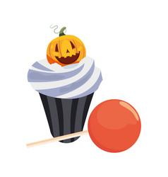 Halloween sweet cupcake vector