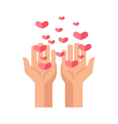 Hands and hearts vcector icon for charity and vector