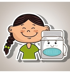 Happy cartoon girl holding smiling cartoon vector