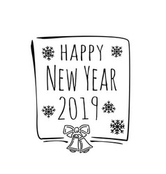 happy new year 2019 stylish doodle text on white vector image