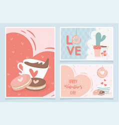 happy valentines day chocolate cup with cookies vector image