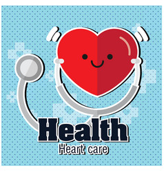 health heart care red heart earphone blue backgrou vector image