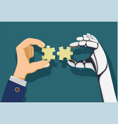 human and a robot hands holding puzzle pieces vector image