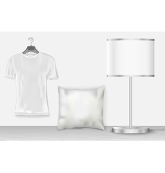 Interior mock up with t-shirt vector
