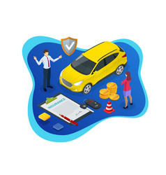 Isometric car insurance concept auto insurance vector